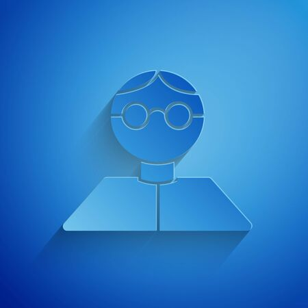 Paper cut Student icon isolated on blue background. Paper art style. Vector Illustration