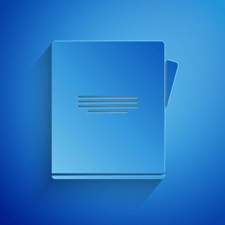 Paper cut Notebook icon isolated on blue background. Spiral notepad icon. School notebook. Writing pad. Diary for school. Paper art style. Vector Illustration