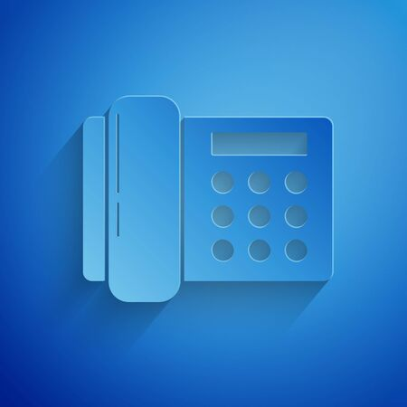 Paper cut Telephone icon isolated on blue background. Landline phone. Paper art style. Vector Illustration