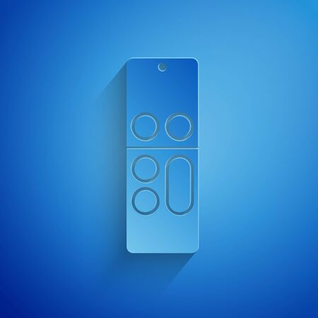 Paper cut Remote control icon isolated on blue background. Paper art style. Vector Illustration