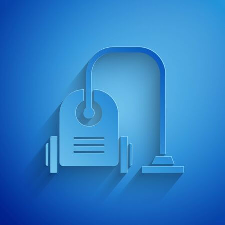 Paper cut Vacuum cleaner icon isolated on blue background. Paper art style. Vector Illustration