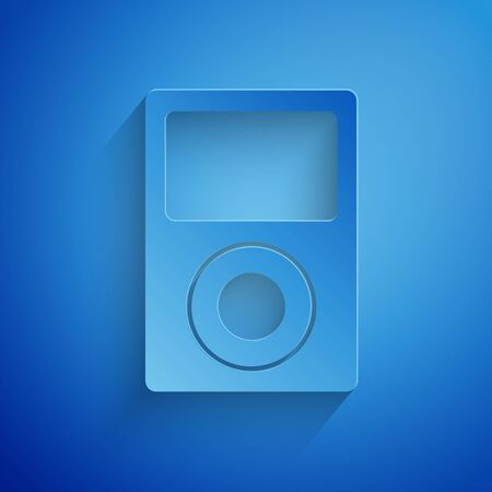 Paper cut Music player icon isolated on blue background. Portable music device. Paper art style. Vector Illustration Çizim