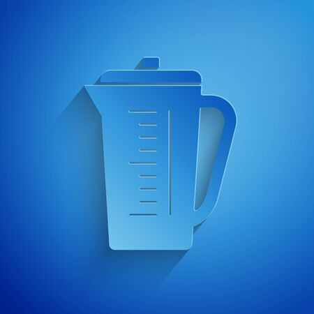 Paper cut Measuring cup to measure dry and liquid food icon isolated on blue background. Plastic graduated beaker with handle. Paper art style. Vector Illustration Stock Illustratie