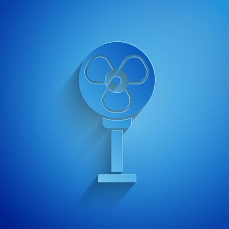 Paper cut Electric fan icon isolated on blue background. Paper art style. Vector Illustration