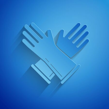 Paper cut Rubber gloves icon isolated on blue background. Latex hand protection sign. Housework cleaning equipment symbol. Paper art style. Vector Illustration