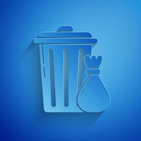 Paper cut Trash can and garbage bag icon isolated on blue background. Garbage bin sign. Recycle basket icon. Office trash icon. Paper art style. Vector Illustration Ilustrace