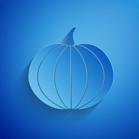 Paper cut Pumpkin icon isolated on blue background. Happy Halloween party. Paper art style. Vector Illustration