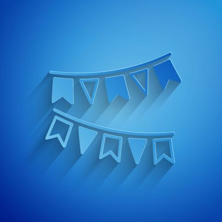 Paper cut Carnival garland with flags icon isolated on blue background. Party pennants for birthday celebration, festival and fair decoration. Paper art style. Vector Illustration Stock Illustratie