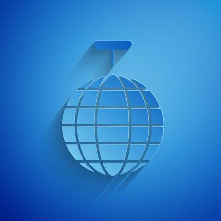 Paper cut Disco ball icon isolated on blue background. Paper art style. Vector Illustration Illusztráció
