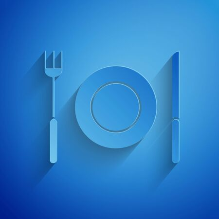 Paper cut Plate, fork and knife icon isolated on blue background. Cutlery symbol. Restaurant sign. Paper art style. Vector Illustration Illusztráció