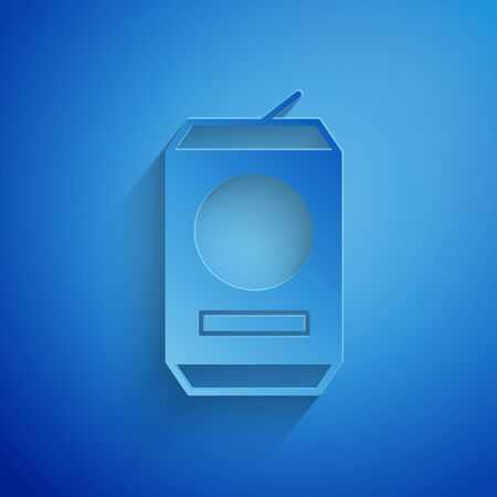Paper cut Beer can icon isolated on blue background. Paper art style. Vector Illustration 일러스트