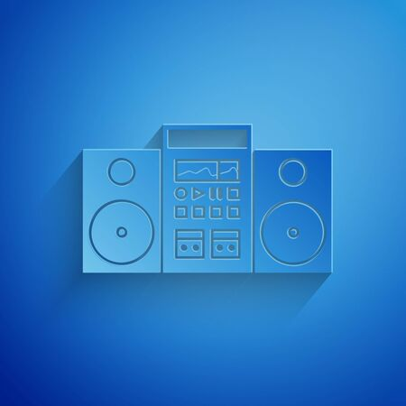 Paper cut Home stereo with two speakers icon isolated on blue background. Music system. Paper art style. Vector Illustration
