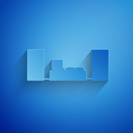 Paper cut Home stereo with two speaker s icon isolated on blue background. Music system. Paper art style. Vector Illustration