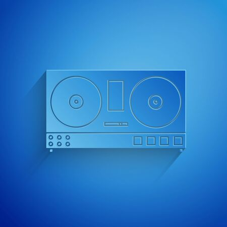 Paper cut DJ remote for playing and mixing music icon isolated on blue background. DJ mixer complete with vinyl player and remote control. Paper art style. Vector Illustration Illusztráció