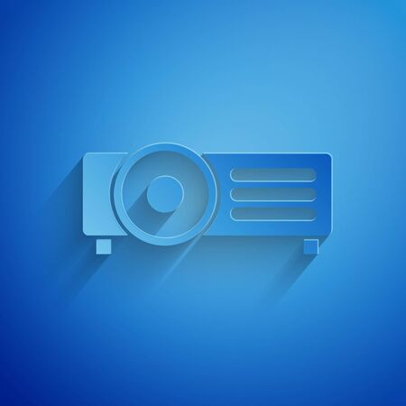 Paper cut Presentation, movie, film, media projector icon isolated on blue background. Paper art style. Vector Illustration Zdjęcie Seryjne - 132246767