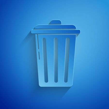 Paper cut Trash can icon isolated on blue background. Garbage bin sign. Recycle basket icon. Office trash icon. Paper art style. Vector Illustration