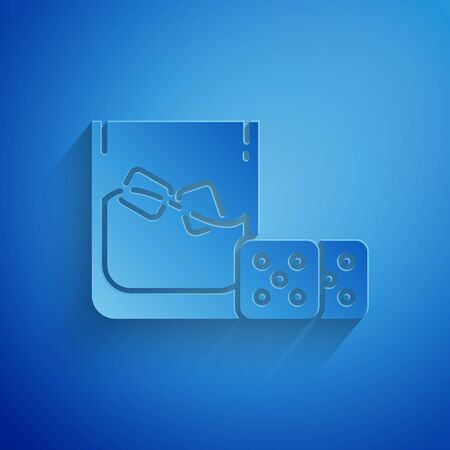 Paper cut Game dice and glass of whiskey with ice cubes icon isolated on blue background. Casino gambling. Paper art style. Vector Illustration 일러스트