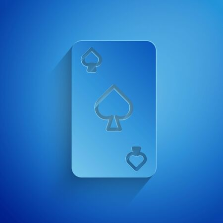 Paper cut Playing card with spades symbol icon isolated on blue background. Casino gambling. Paper art style. Vector Illustration Ilustrace
