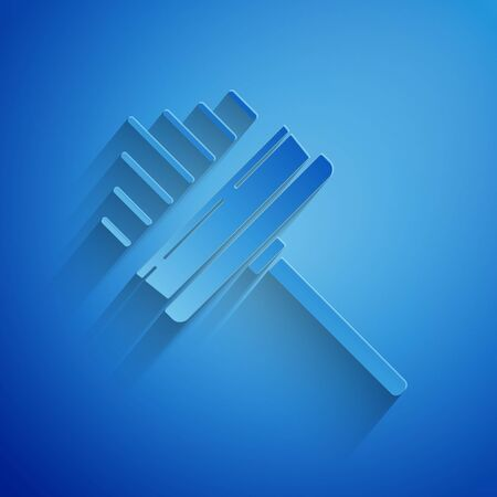 Paper cut Cleaning service with of rubber cleaner for windows icon isolated on blue background. Squeegee, scraper, wiper. Paper art style. Vector Illustration