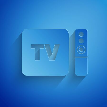 Paper cut Multimedia and TV box receiver and player with remote controller icon isolated on blue background. Paper art style. Vector Illustration