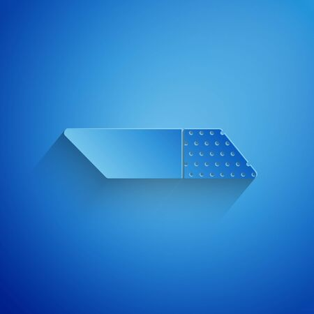 Paper cut Eraser or rubber icon isolated on blue background. Paper art style. Vector Illustration