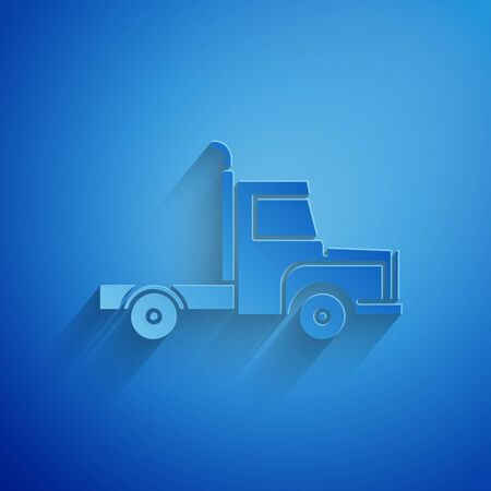 Paper cut Delivery cargo truck vehicle icon isolated on blue background. Paper art style. Vector Illustration