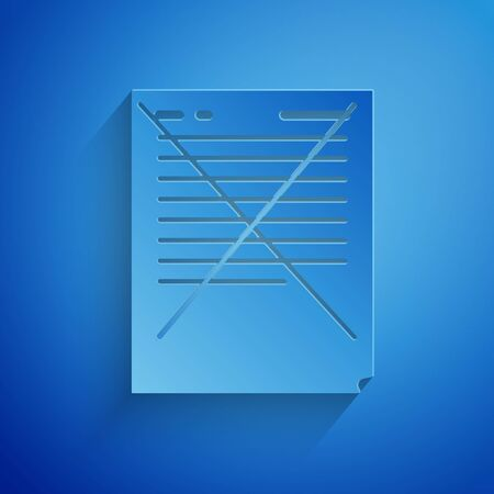 Paper cut Exam paper with incorrect answers survey icon isolated on blue background. Bad mark of test results, concept of unsuccessful report. Paper art style. Vector Illustration 向量圖像