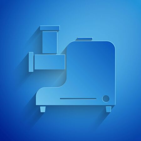 Paper cut Kitchen meat grinder icon isolated on blue background. Paper art style. Vector Illustration