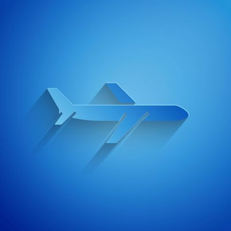 Paper cut Plane icon isolated on blue background. Flying airplane icon. Airliner sign. Paper art style. Vector Illustration