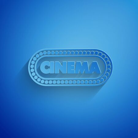 Paper cut Cinema poster design template icon isolated on blue background. Movie time concept banner design. Paper art style. Vector Illustration