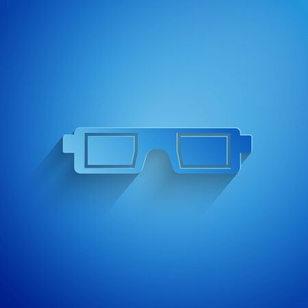 Paper cut 3D cinema glasses icon isolated on blue background. Paper art style. Vector Illustration