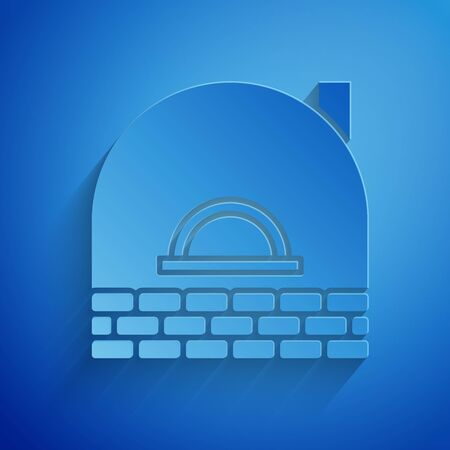 Paper cut Brick stove icon isolated on blue background. Brick fireplace, masonry stove, stone oven icon.Paper art style. Vector Illustration