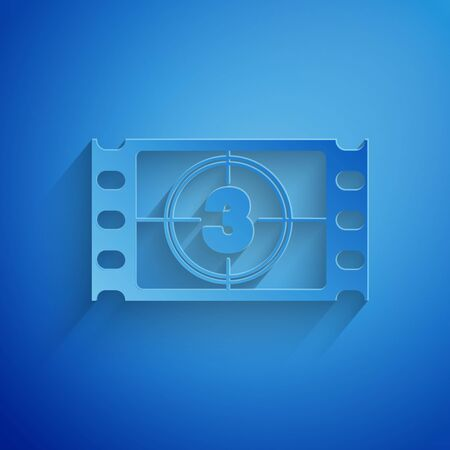 Paper cut Play Video icon isolated on blue background. Film strip with start sign. Paper art style. Vector Illustration