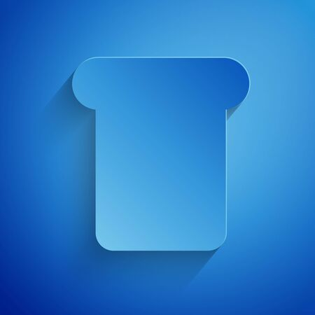 Paper cut Bread toast for sandwich piece of roasted crouton icon isolated on blue background. Lunch, dinner, breakfast snack. Paper art style. Vector Illustration