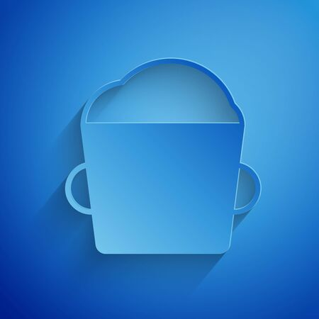 Paper cut Bakery bowl dough icon isolated on blue background. Paper art style. Vector Illustration