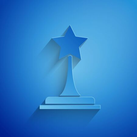 Paper cut Movie trophy icon isolated on blue background. Academy award icon. Films and cinema symbol. Paper art style. Vector Illustration
