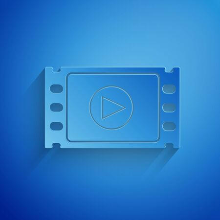 Paper cut Play Video icon isolated on blue background. Film strip with play sign. Paper art style. Vector Illustration