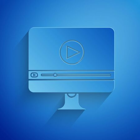 Paper cut Online play video icon isolated on blue background. Computer monitor and film strip with play sign. Paper art style. Vector Illustration