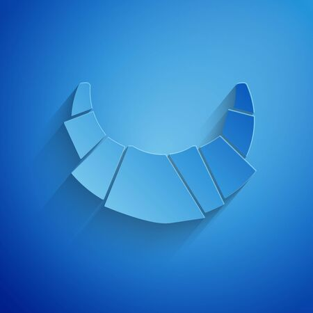 Paper cut Croissant icon isolated on blue background. Paper art style. Vector Illustration