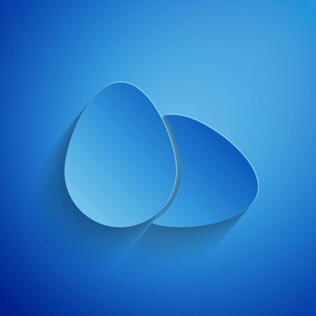 Paper cut Chicken egg icon isolated on blue background. Paper art style. Vector Illustration