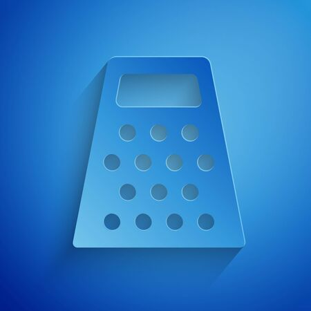 Paper cut Grater icon isolated on blue background. Kitchen symbol. Cooking utensil. Cutlery sign. Paper art style. Vector Illustration Stock Illustratie