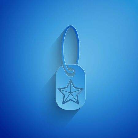 Paper cut Military dog tag icon isolated on blue background. Identity tag icon. Army sign. Paper art style. Vector Illustration