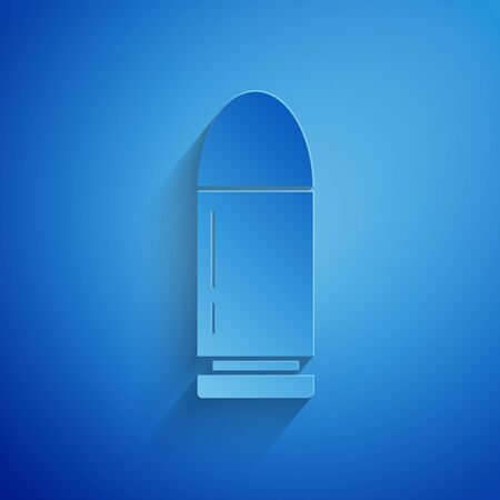 Paper cut Bullet icon isolated on blue background. Paper art style. Vector Illustration
