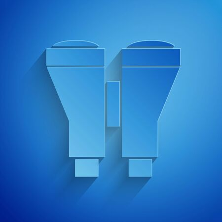 Paper cut Binoculars icon isolated on blue background. Find software sign. Spy equipment symbol. Paper art style. Vector Illustration