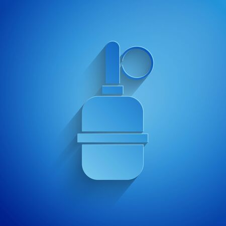 Paper cut Hand grenade icon isolated on blue background. Bomb explosion. Paper art style. Vector Illustration