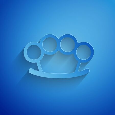 Paper cut Brass knuckles icon isolated on blue background. Paper art style. Vector Illustration