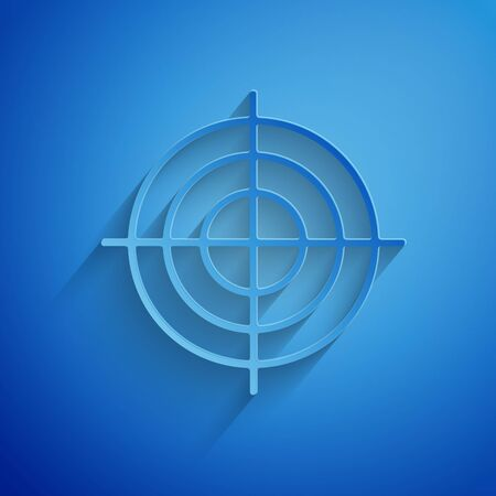 Paper cut Target sport for shooting competition icon isolated on blue background. Clean target with numbers for shooting range or shooting. Paper art style. Vector Illustration