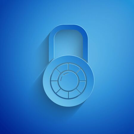 Paper cut Safe combination lock wheel icon isolated on blue background. Combination padlock. Security, safety, protection, password, privacy. Paper art style. Vector Illustration