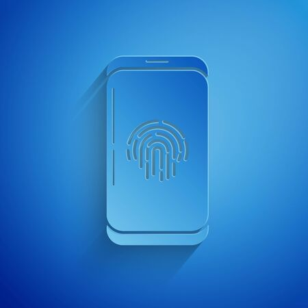Paper cut Smartphone with fingerprint scanner icon isolated on blue background. Concept of security, personal access via finger on mobile phone. Paper art style. Vector Illustration