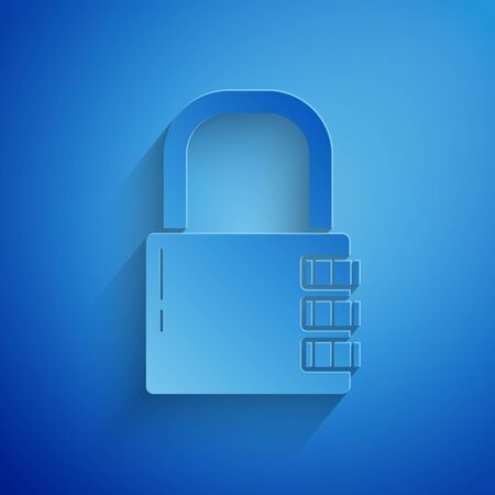 Paper cut Safe combination lock icon isolated on blue background. Combination padlock. Security, safety, protection, password, privacy. Paper art style. Vector Illustration